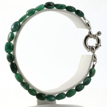 köves ásványi ékszer smaragd karkötő ródiumozott ezüst zárral