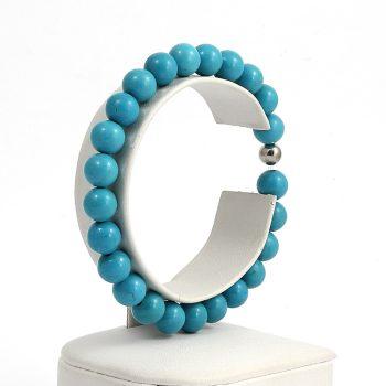 Köves ásványi ékszer Kék magnezit elasztikus karkötő
