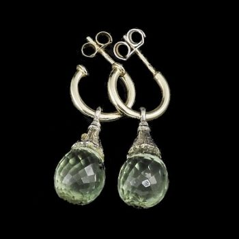 köves ásványi ékszer Zöld ametiszt briolett fehér #14K arannyal fülbevaló