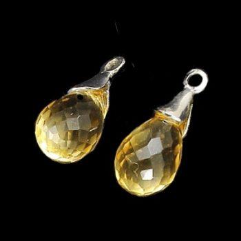 Köves ásványi ékszer citrin briolett #14K fehér arany karikához fülbevaló függő