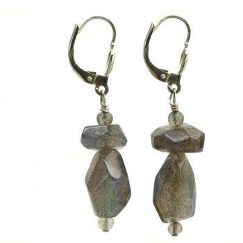 Köves ásványi ékszer labradorit szilánkok fülbevaló