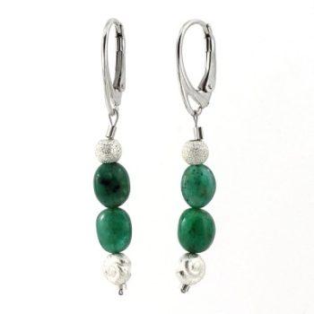 köves ásványi ékszer smaragd - ezüst patent fülbevaló