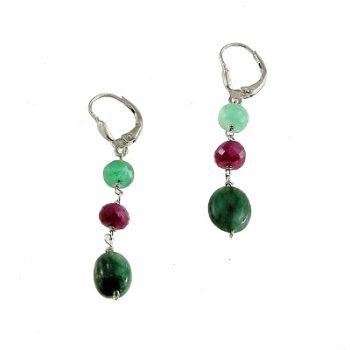 köves ásványi ékszer smaragd-rubin fülbevaló