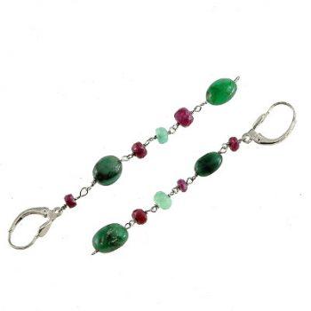 köves ásványi ékszer 3 rubin-3 smaragd fülbevaló