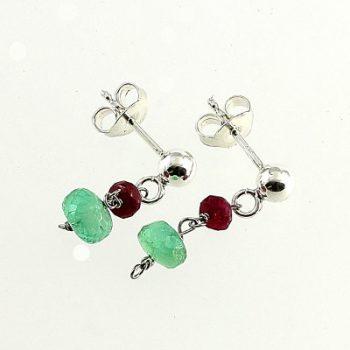 köves ásványi ékszer smaragd-rubin bedugós fülbevaló