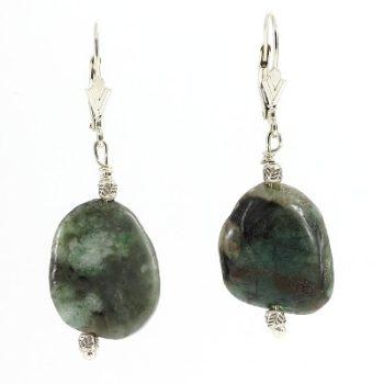 köves ásványi ékszer smaragd kő patent  fülbevaló