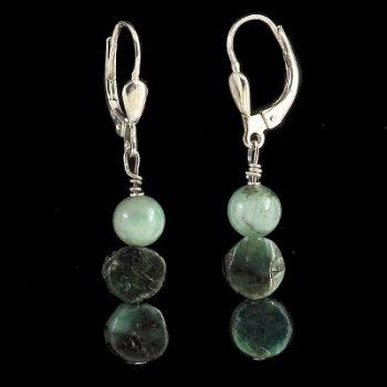 köves ásványi ékszer smaragd köves patent  fülbevaló