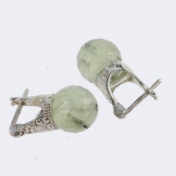 Ezüst fülbevaló prehnit kővel
