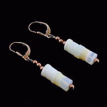 Köves ásványi ékszer opál patent fülbevaló