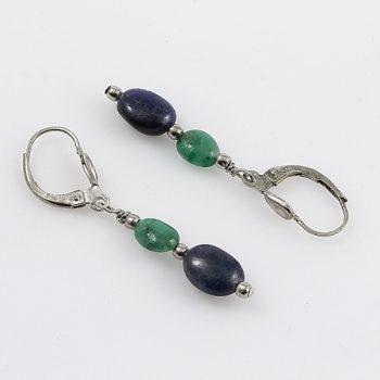 Köves ékszer Zafír-smaragd fülbevaló