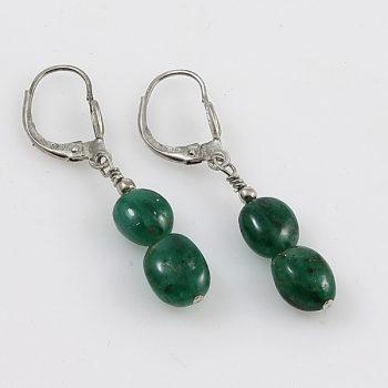 Köves ékszer Smaragd 2 lencse fülbevaló