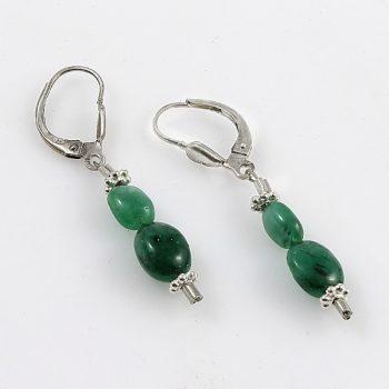 Köves ékszer Smaragd-ezüst fülbevaló