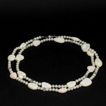 Köves ásványi ékszer gyöngy kagyló hegyi kristály nyaklánc