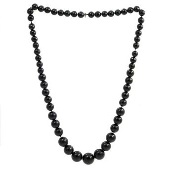 Köves ásványi ékszer gagát onix fekete csiszolt golyók nyaklánc