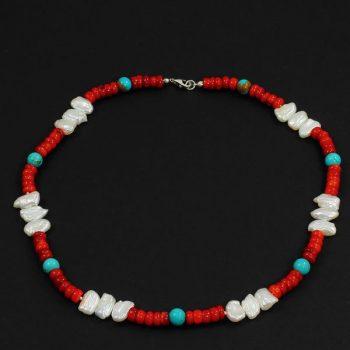 Köves ásványi ékszer piros korall türkiz gyöngy nyaklánc