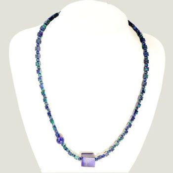 Köves ásványi ékszer azurit nyaklánc lapis lazuli kockákkal