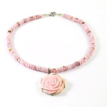 Köves ásványi ékszer andok opál nyaklánc queen conch medállal rózsaszínű