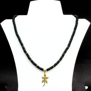 Köves ásványi ékszer obszidián nyaklánc ezüst gekkóval