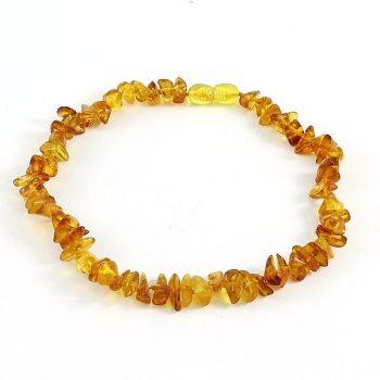 Köves ásványi ékszer bébi borostyán arany narancs nyaklánc