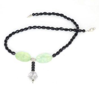 Köves ásványi ékszer onyx prehnit hegyi kristály és sörlök nyaklánc