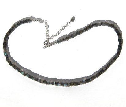 Köves ásványi ékszer labradorit kocka nyaklánc