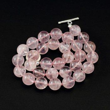 köves ásványi ékszer rózsakvarc csomózott nyaklánc