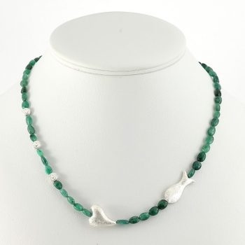 köves ásványi ékszer smaragd-ezüst kombináció nyaklánc