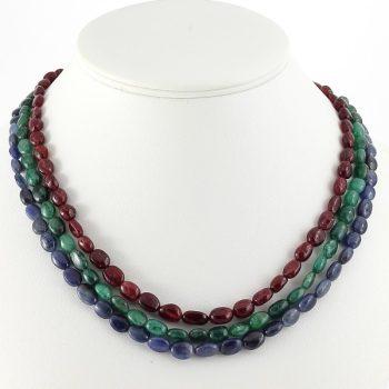 köves ásványi ékszer rubin-smaragd-zafír 3 soros nyaklánc