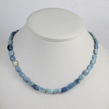 Köves ásványi ékszer Kék opálok plusz topáz nyaklánc