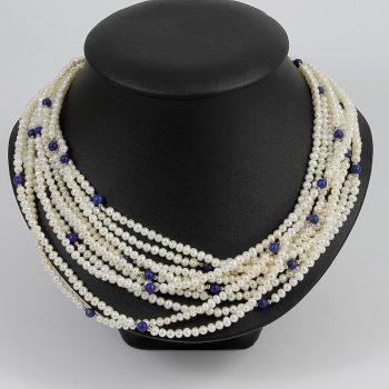 Köves ásványi ékszer 5 soros gyöngy nyaklánc lapis lazulival