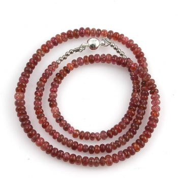 Köves ásványi ékszer. Pirosas spinell nyaklánc