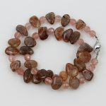 köves ásványi ékszer napkő és cherrykvarc nyaklánc