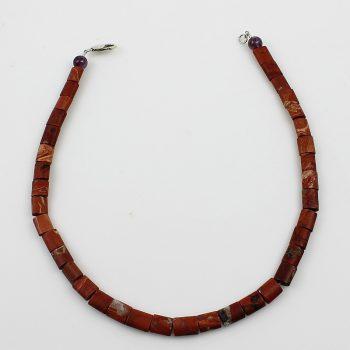 Köves ásványi ékszer Vörös jáspis matt nyaklánc