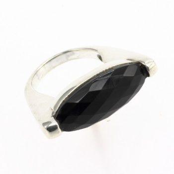 Köves ásványi ékszer lapracsiszolt onix 925-ös ezüst gyűrű