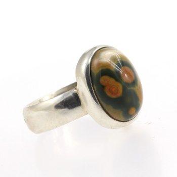 Köves ásványi ékszer jáspis 925-ös ezüst gyűrű