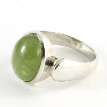 Köves ásványi ékszer peridot cabochon 925-ös ezüst gyűrű