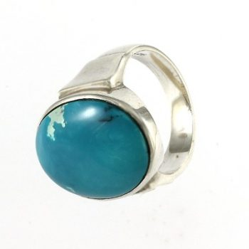 Köves ásványi ékszer ovál türkiz 925-ös ezüst gyűrű
