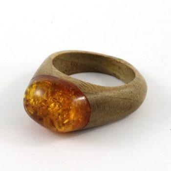 Köves ásványi ékszer borostyán keményfa gyűrű