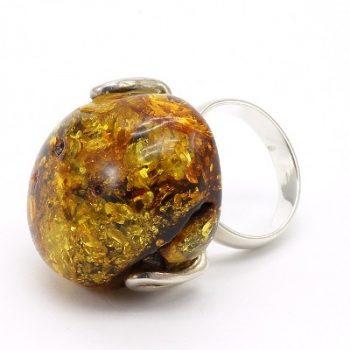 Köves ásványi ékszer borostyán 925-ös ezüst gyűrű