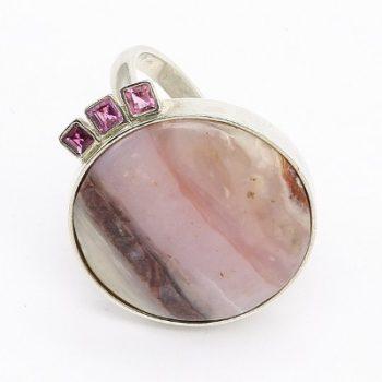 Köves ásványi ékszer peru opál turmalin 925-ös ezüst gyűrű