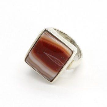 Köves ásványi ékszer achát kocka 925-ös ezüst gyűrű