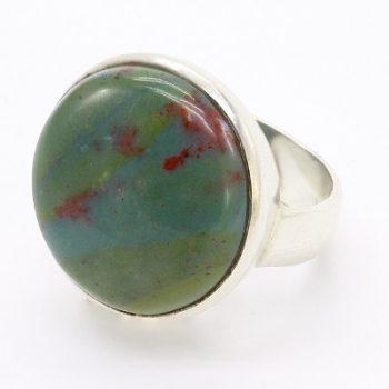 Köves ásványi ékszer jáspis korong 925-ös ezüst gyűrű