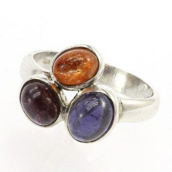 Köves ásványi ékszer sonnenstein zafír 925-ös ezüst gyűrű