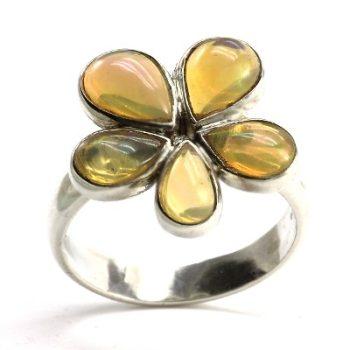 Köves ásványi ékszer opál virág 925-ös ezüst gyűrű