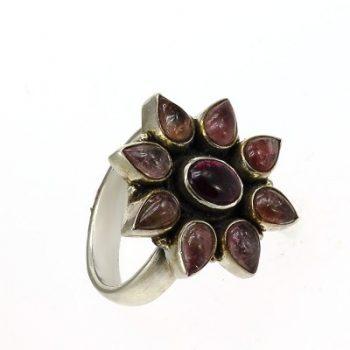 Köves ásványi ékszer turmalin gránát 925-ös ezüst gyűrű