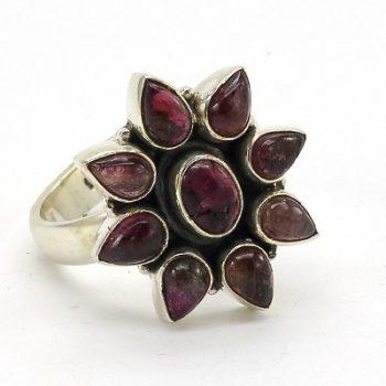 Köves ásványi ékszer turmalin kilencköves 925-ös ezüst gyűrű