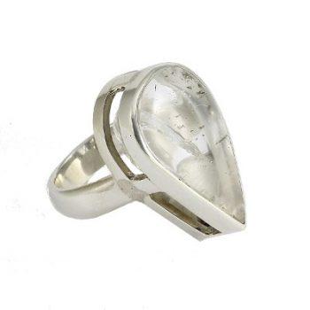Köves ásványi ékszer hegyi kristály csepp 925-ös ezüst gyűrű