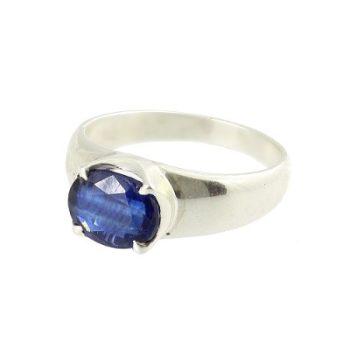 Köves ásványi ékszer kianit ovális kővel ezüst gyűrű
