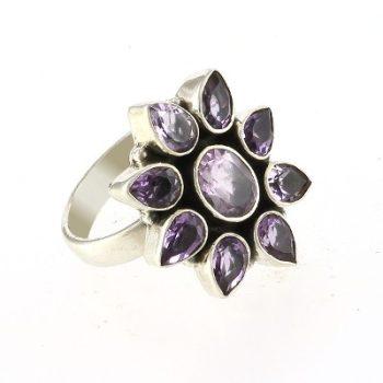 köves ásványi ékszer ametiszt virág gyűrű