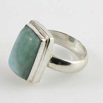 Larimár tégla cabochon gyűrű